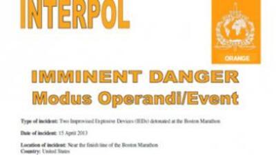 Interpol anunció que ha difundido una nota naranja entre sus 190 países...