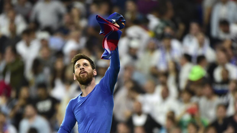 Lionel Messi celebra su gol en El Clásico