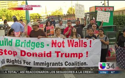Indignación en Los Angeles por la visita de Trump a México