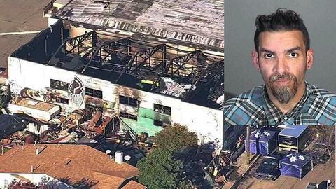 Imagen aérea del almacén en el que murieron más de...