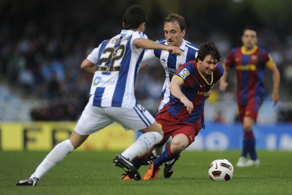Lionel Messi estuvo muy bien marcado y no tuvo un buen partido. La Real...