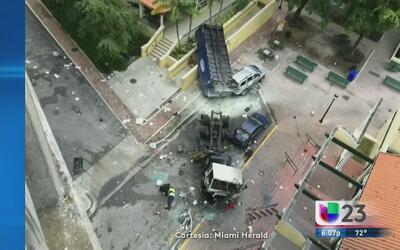 Video muestra caída de camión de basura en la I-95
