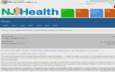 Alerta de sarampión en el Condado Hudson
