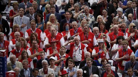 Participantes en la Convención Republicana en Cleveland.