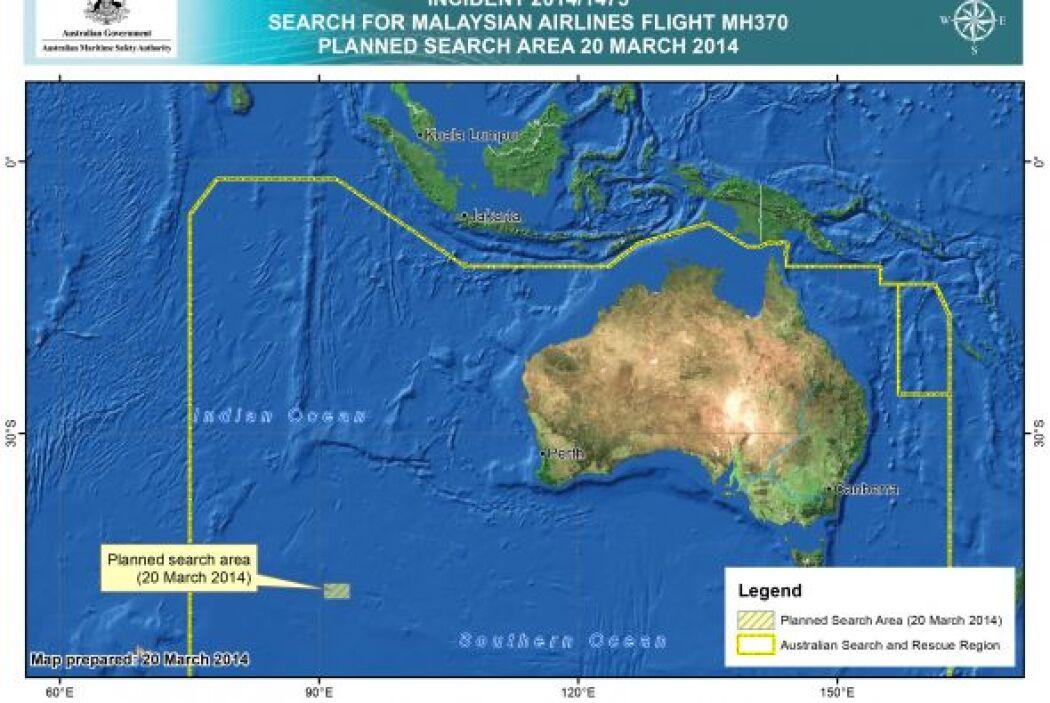 Aviones fueron enviados a la zona, a unos 2.500 kilómetros (1.550 millas...