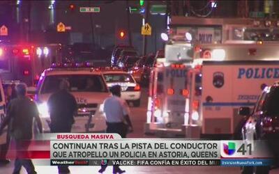 Buscan a hombre que atropelló a policía en Queens