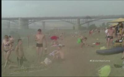 Una peligrosa granizada cayó inesperadamente en una playa de Siberia