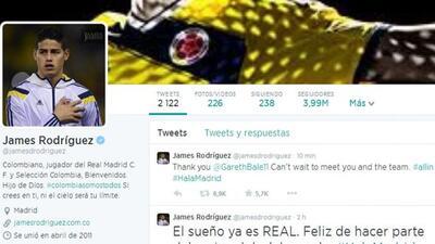 La publicación de james en su cuenta de Twitter.