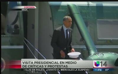 Protestas durante la visita de Obama