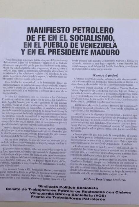 El oficialismo publicó un Manifiesto Petrolero. Foto tomada por: Elyange...