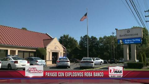 Payaso con explosivos roba banco