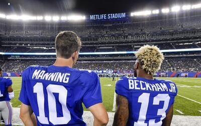 ¿Eli Manning, harto de los festejos de Odell Beckham Jr.?
