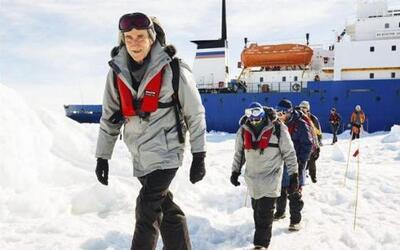 Los pasajeros del barco ruso Akadémik Shokálskiy, que quedó atrapado en...