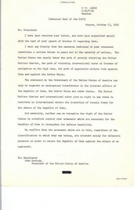 Primera carta del mandatario soviético, Nikita Krushsev, al presidente J...