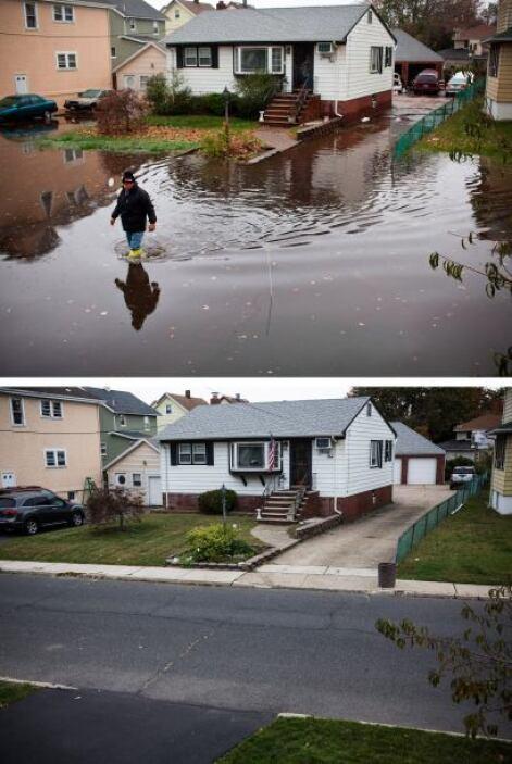 """La """"Supertormenta"""" dejó severas inundaciones en Nueva Jersey. En la imag..."""
