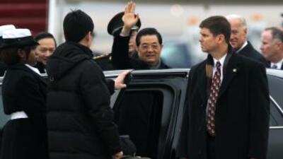 Jintao, a su llegada a Washington, DC. La agenda comprende temas espinos...