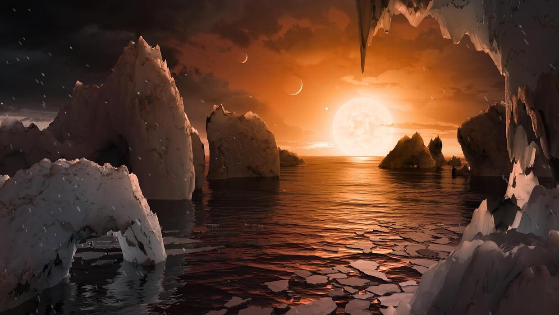 Ilustración de cómo se vería el amanecer desde uno de estos planetas.