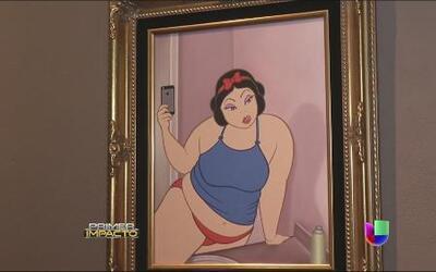 Controvertidas pinturas con figuras de Disney critican a la sociedad