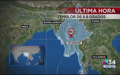 Terremoto de 6.8 estremece Myanmar