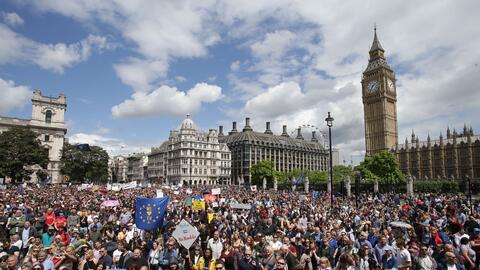 Promotores de que Londres se mantenga en la Unión Europea protest...