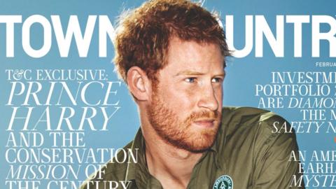 El Príncipe Harry aparece en la edición de febrero de Town...