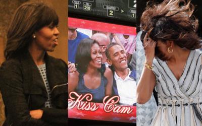 Michelle Obama desprevenida.