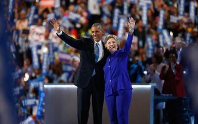 El presidente Barack Obama y la nominada del partido Demócrata Hillary C...