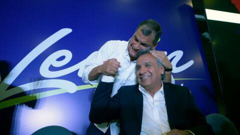 El presidente Rafael Correa y el candidato oficialista Lenín Moreno