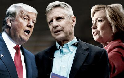 Donald Trump, Gary Johnson, y Hillary Clinton.