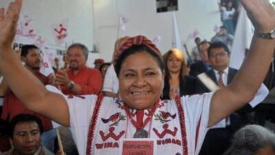 La Premio Nobel de la Paz, Rigoberta Menchú Tum.