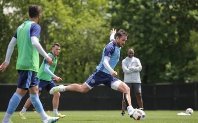 David Villa, Jack Harrison y Frank Lampard, en un entrenamiento de NYCFC,