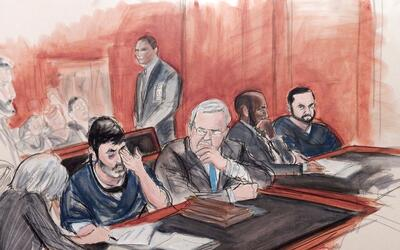En este dibujo elaborado en un tribunal, Efraín Antonio Campo Flo...
