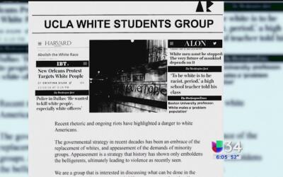 Encuentran panfletos para reclutar a un grupo de estudiantes blancos en...