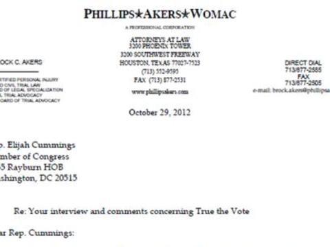 Carta de Brock C. Akers al legislador Elijah Cummings.