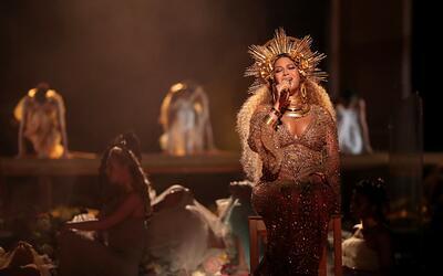 Beyonce durante su presentación en los Grammy 2017, donde cant&oa...