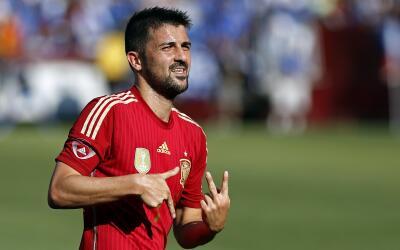 David Villa jugando con la selección española