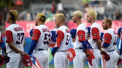 Los jugadores de Puerto Rico durante el Clásico Mundial de B&eacu...