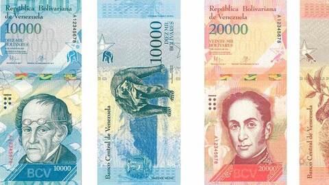 Billetes de 10,000 y 20,000 bolívares.