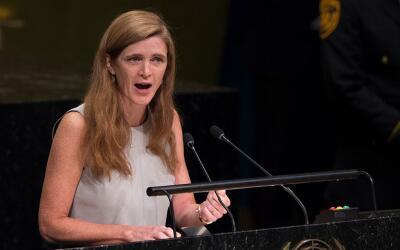 La embajadora de EEUU ante la ONU, Samantha Power, se abstuvo en la vota...