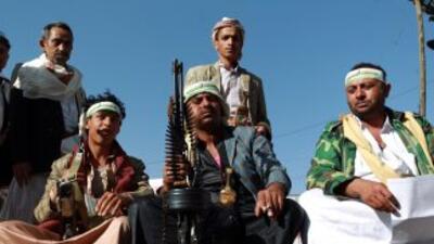 Milicianos hutíes en Adén, Yemen.