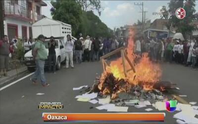 Violenta conclusión de una protesta de maestros en México