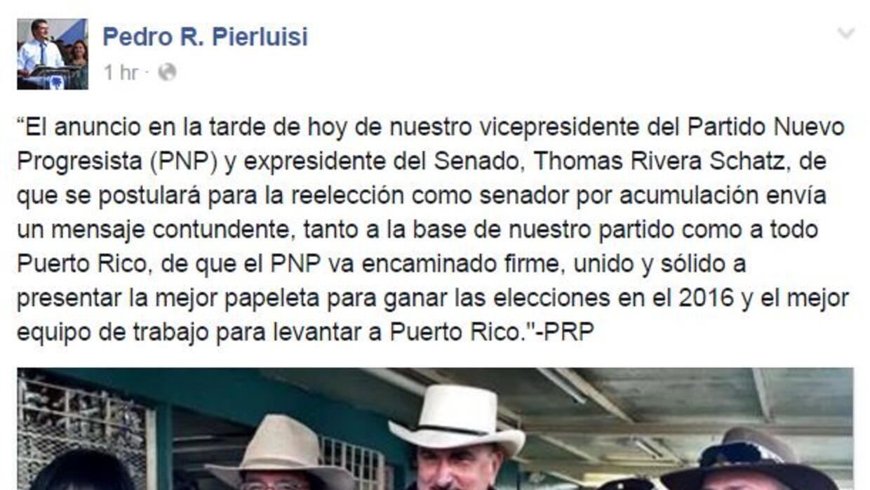Reacciona Pierluisi a candidatura de Rivera Schatz