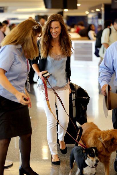 Hillary Swank perros aeropuerto