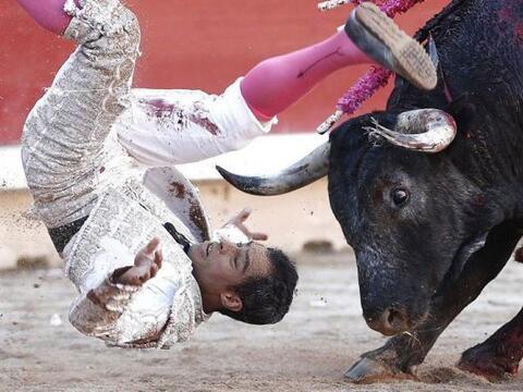 El diestro Luis Bolívar es volteado por el toro, durante el décimo feste...