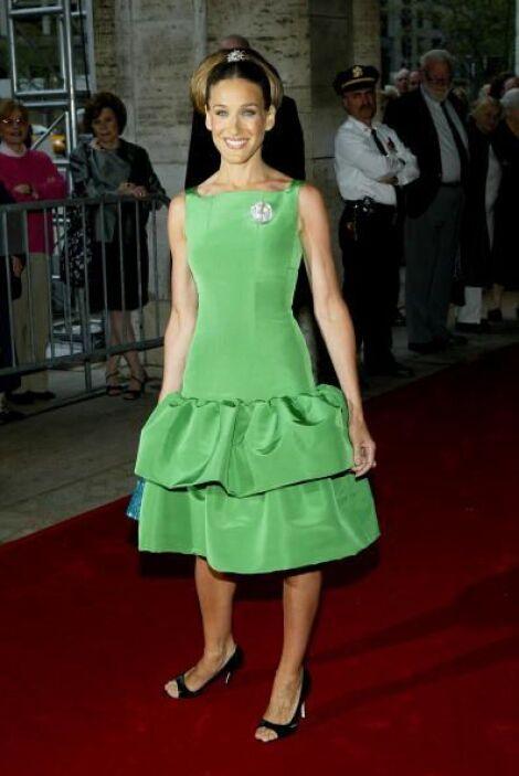 ¿Así o más verde?, en una presentación la vimos con un vestido verde que...