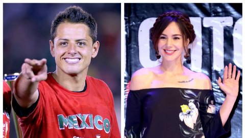 El delantero mexicano Javier 'Chicharito' Hernández y la actriz...