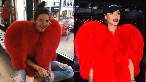 Kendall Jenner y Rihanna usaron el mismo abrigo con forma de coraz&oacut...