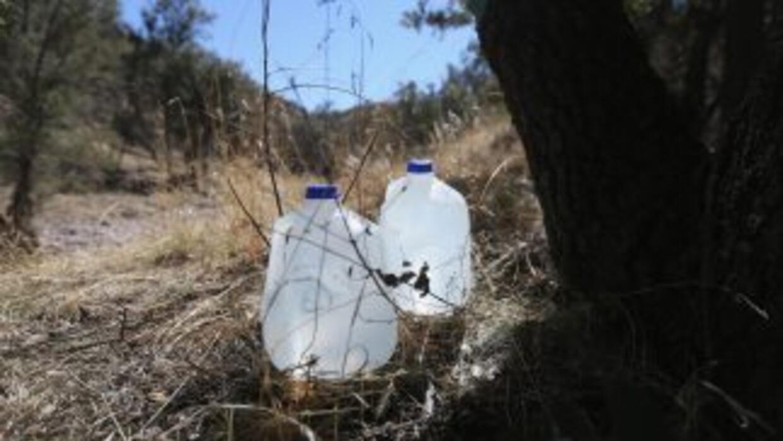 """La organización """"No more Deaths"""" (No más muertes) coloca bidones de agua..."""