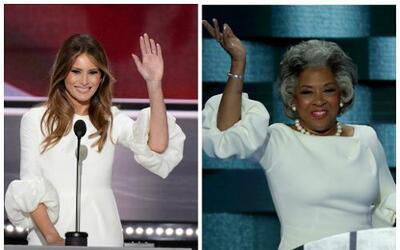 Melania Trump y Joyce Beatty usando el mismo vestido en las convenciones.