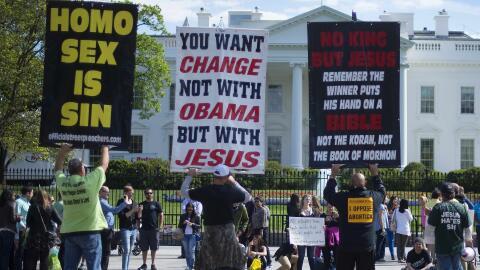 Protesta en Washington DC contra el matrimonio entre homosexuales. 2015.